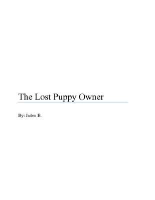 The Lost PUppy Ownerby Jaden B.