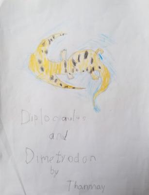Diplocaulus and Dimetrodon by Thanmay S.